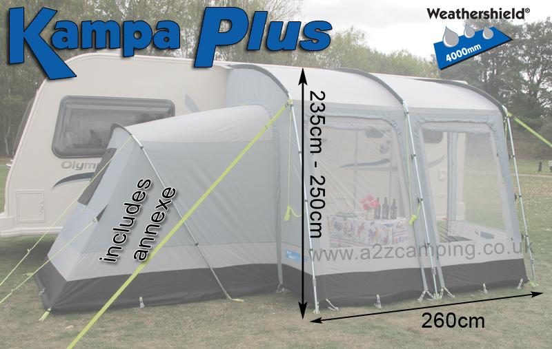 New Put Up Once Kampa Rally 260 Plus Caravan Porch Awning