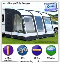2013 Kampa Rally 390 Pro Caravan Lightweight Porch Awning